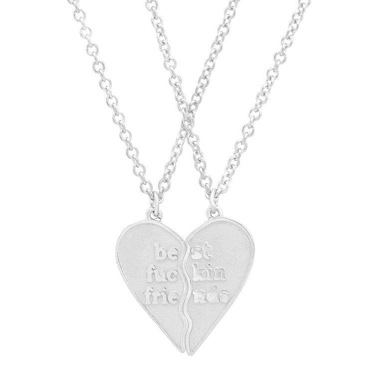 Mini Best Fuckin Friends (2 Piece) Heart Necklaces