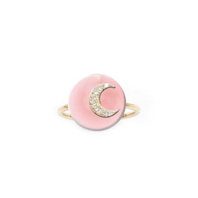 Co-Exist Moon on Gemstone Ring
