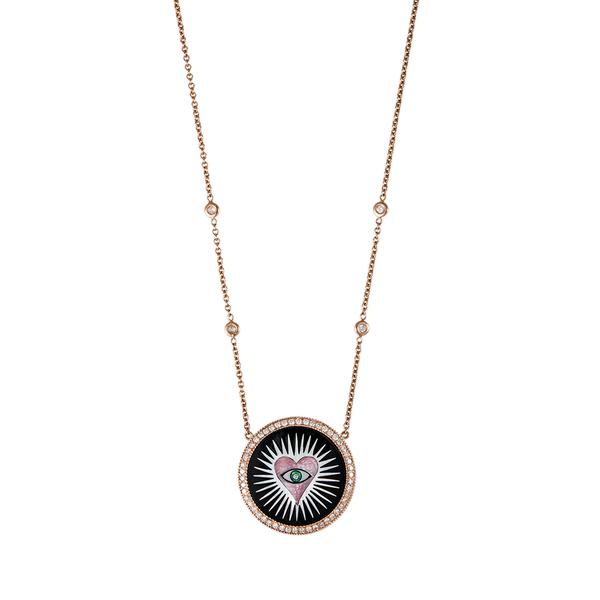 SMALL PAVE ROUND ONYX INLAY PINK HEART BURST NECKLACE