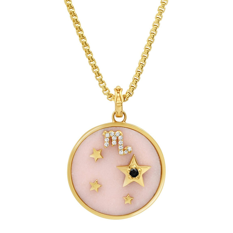 LARGE ZODIAC NECKLACE - PINK OPAL