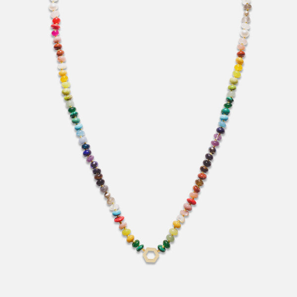 "18"" MULTI BEAD AND GOLD FOUNDATION NECKLACE"