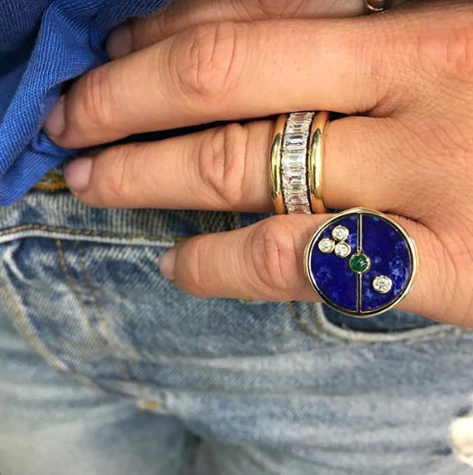 Lapis Compass Signet Ring