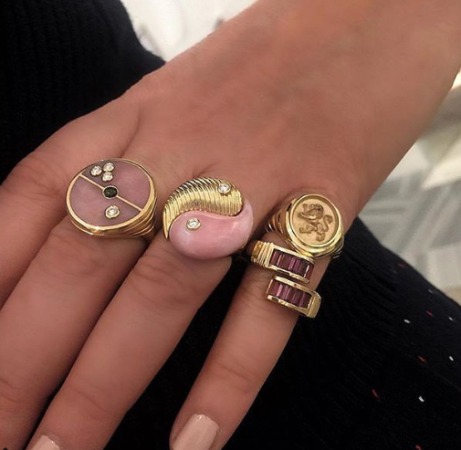 Pink Opal Compass Signet Ring