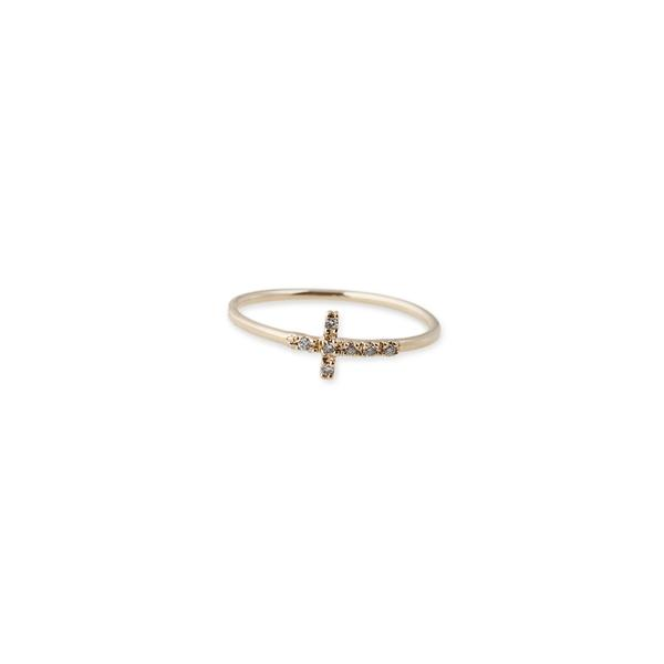 SIDEWAYS PAVE CROSS RING