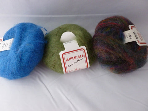 Imperiale Super Kid Mohair by Le Fibre Nobili,  Multiple Colors, Worsted Kid Mohair blend - Felted for Ewe