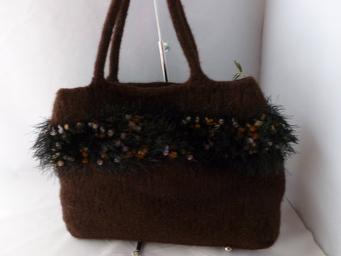 Felted Purse, Hand Knit Felted Purse with 2 Soft Wool Handles
