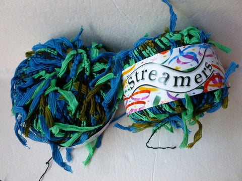 Blue and Green Streamers by Kniting Fever yarn - Felted for Ewe
