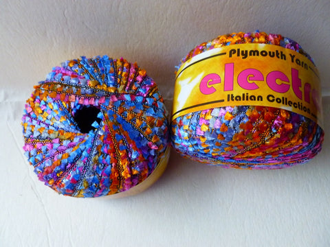 Rainbow 6 Electra The Italian Collection by Plymouth Yarn, Ribbon, Flags - Felted for Ewe