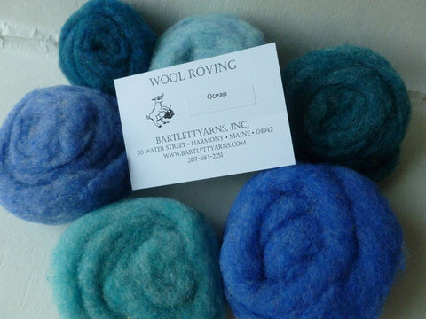 Wool Roving, Ocean Sampler by Bartlett yarns, Blues and Greens - Felted for Ewe