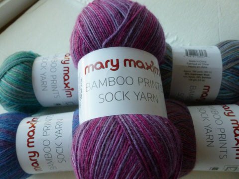 Bamboo Prints Sock Yarn for Mary Maxim, Bamboo Wool Blend Sock yarn, 100 gm - Felted for Ewe
