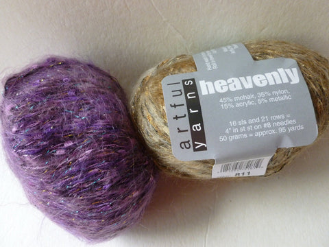 Heavenly by Artful Yarns, Worsted, Mohair Blend, Metallic Ribbon, 50 gm - Felted for Ewe