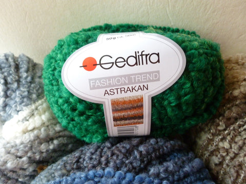 Astrakan Fashion Trend by Gedifra, Super Bulky, Polyester Wool Blend, Boucle, 50 gm - Felted for Ewe