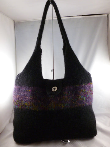 Felted Purse, Hand Knit Felted Large Hand Bag - Felted for Ewe