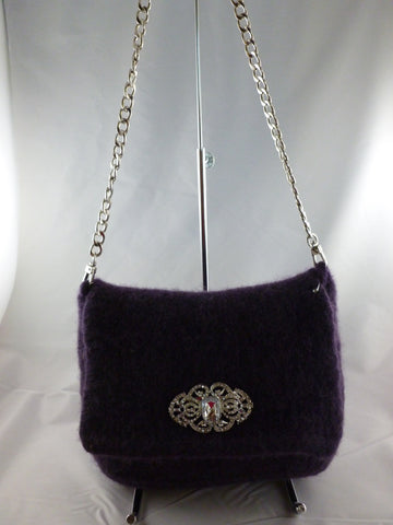 Felted Purse, Hand knit Felted Small Wedding or Evening Clutch with Chain Strap - Felted for Ewe
