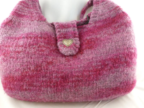 Felted Purse, Hand Knit Felted Hobo Bag - Felted for Ewe