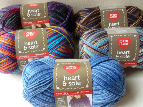 Heart & Sole with Aloe by Red Heart, Sock Yarn, 50gm Washable Wool - Felted for Ewe
