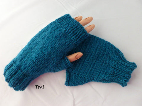 Solid Fingerless Mittens, Superwash Wool, Multiple Colors