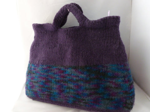 Ex Large Hand Knit Felted Purple Tote, Felted Purse