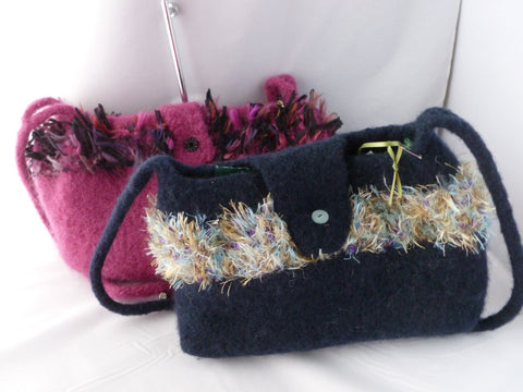 Hand Knit Felted Medium Hand Bag with Shoulder Strap, Felted Purse, Multiple Colors