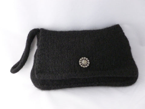 Hand knit Felted Small Evening or Day Time Wristlet, Felted Purse - Felted for Ewe