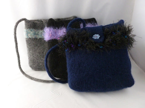 Hand Knit Small Felted Purse, Felted Bag, Multiple Colors