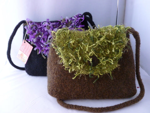 Hand Knit Medium Felted Purse with Flap and Shoulder Strap, Felted Bag, Multiple Colors