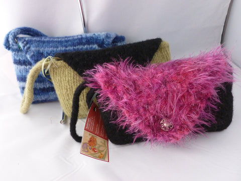 Hand knit Felted Small Wristlet, Felted Purse
