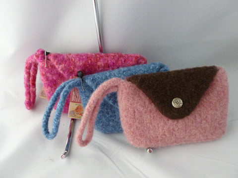 Hand knit Felted Mini Wristlet, Felted Purse