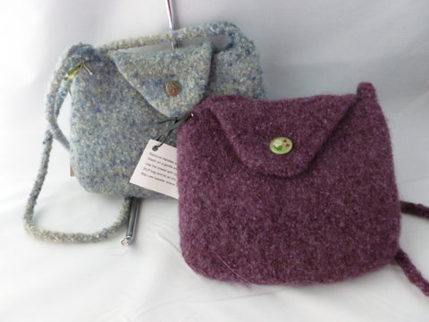 Hand Knit Mini Felted Purse, Felted Bag, Shoulder Bag, Multiple Colors - Felted for Ewe