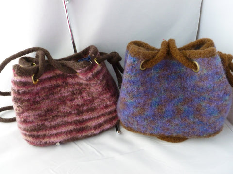 Hand Knit Draw String Felted Purse, Felted Bag, Multiple Colors - Felted for Ewe