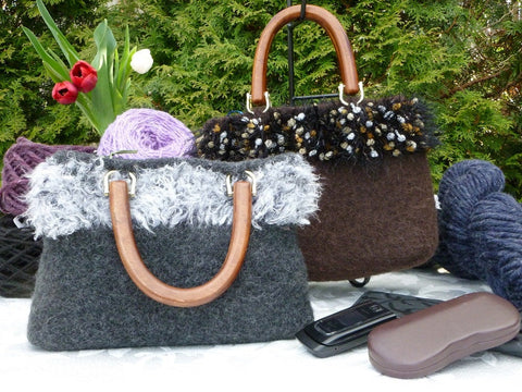 Felted Purse, Brown or Dark Grey Hand knit Felted Purse with Wood Handles - Felted for Ewe