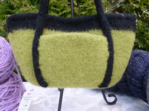 Felted Purse, Green or Grey Handknit Felted Bucket Purse - Felted for Ewe