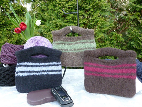 Felted Purse, Brown or Black Handknit Felted Mini Clutch - Felted for Ewe