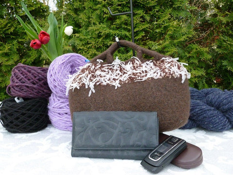 Felted Purse,  Brown Fancy Handle Hand knit Felted Purse - Felted for Ewe