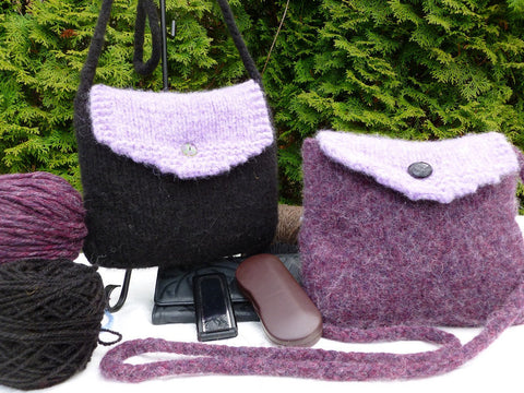 Felted Purse, Purple or Black Hand knit Felted over the Shoulder Bag with Back Pocket - Felted for Ewe