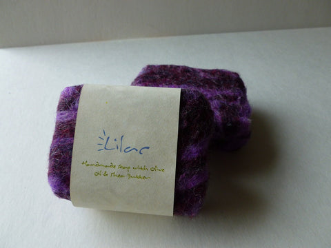 Felted Soap, Handmade Felted Soap - Lilac - Felted for Ewe