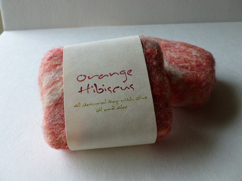 Felted Soap, Handmade Felted Soap - Orange Hibiscus - Felted for Ewe