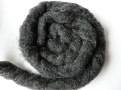 Wool Roving Charcoal Heather by Bartlett yarns - Felted for Ewe