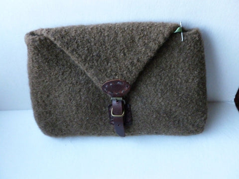 Felted Purse, Brown Hand knit Felted Clutch with Leather Buckle Snap - Felted for Ewe