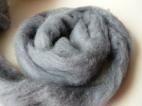 Steel gray Romney and Merino Blend Wool Roving - Felted for Ewe