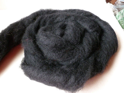 Black Romney and Merino Blend Wool Roving - Felted for Ewe