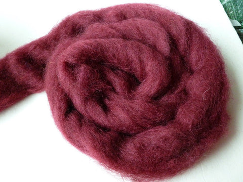 Maroon Romney and Merino Blend Wool Roving - Felted for Ewe