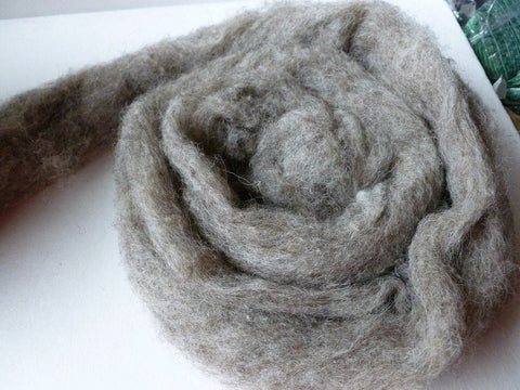 Natural grey Romney and Merino Blend Wool Roving - Felted for Ewe
