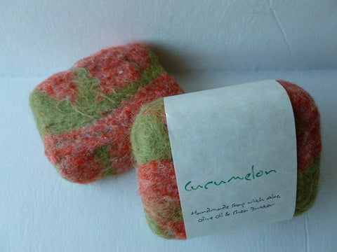 Felted Soap, Felted Handmade Soap - Cucumelon - Felted for Ewe
