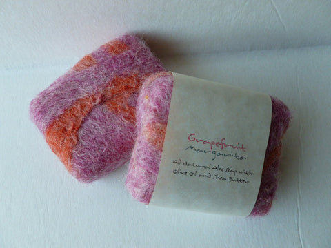 Felted Soap, Felted Handmade Soap - Grapefruit Margarita - Felted for Ewe