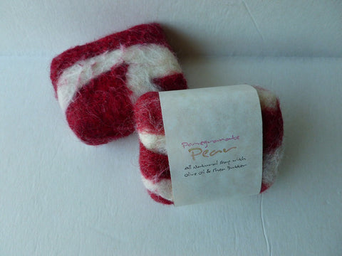 Felted Soap, Felted Handmade Soap - Pomegranate Pear - Felted for Ewe
