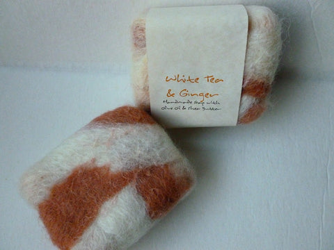 Felted Soap, Handmade Felted Soap - White Tea & Ginger - Felted for Ewe