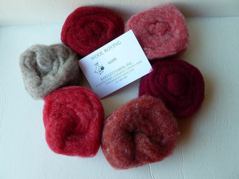 Wool Roving, Reds Sampler by Bartlett yarns - Felted for Ewe