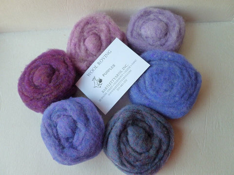 Wool Roving, Purples Sampler by Bartlett yarns - Felted for Ewe