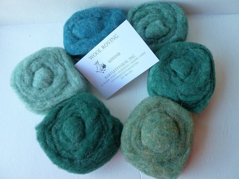 Wool Roving, Greens Sampler by Bartlett yarns - Felted for Ewe